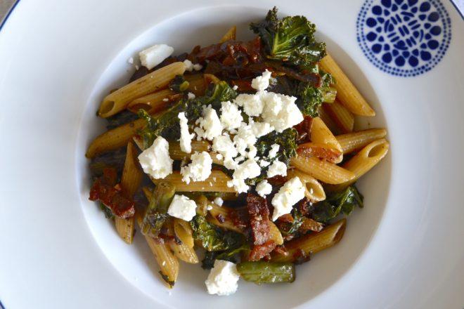 Mediterranean pancetta pasta at www.laughlovekiss.com